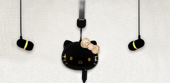 p 031 iriver Unleashes Black Hello Kitty Swarovski Laden MP3 Player