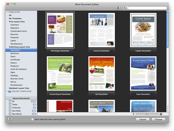 Word Template Gallery 572x431 Microsoft Office for Mac 2011 Review