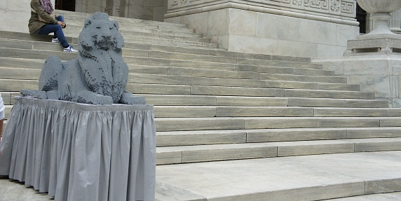 Main New York Public Library Celebrates 100 Yrs with LEGO Patience and Fortitude