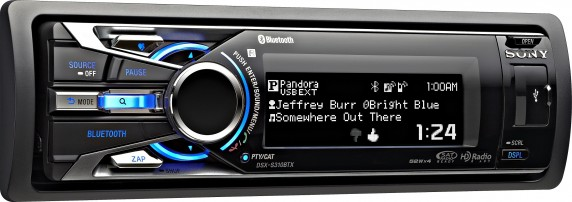 DSX S310BTX angled right blue pandora song usbLR lg 572x202 Sony DSX S310BTX Car Stereo Offers Pandora with Android Support