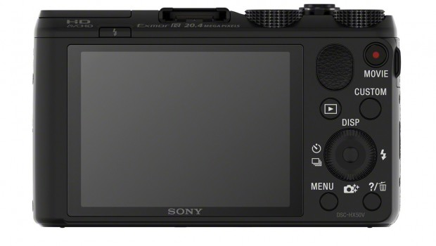 DSC HX50V Black Rear 620x350 Sony Cyber shot HX50V is World's Smallest and Lightest 30x Optical Zoom Camera